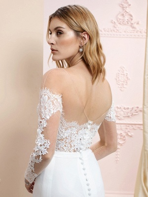 Country A line Chiffon Wedding Dress Long Sleeves Lace Appliques Bridal Gowns Online_4