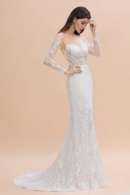 Gorgeous Jewel Tulle Lace Wedding Dress   Long Sleeves Appliques Mermaid Bridal Gowns_3
