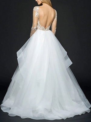 Style Ball Gown Wedding Dresses V Neck Organza Long Sleeve Bridal Gowns Online_2