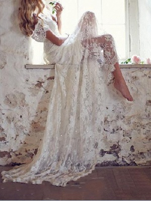 Country Mermaid Wedding Dress V-Neck Lace Short Sleeve Plus Size Bridal Gowns Court Train_1