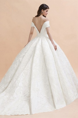 Luxury Ball Gown Lace Satin Sweetheart Wedding Dress | Sleeveless Bridal Gowns with V-Back_2