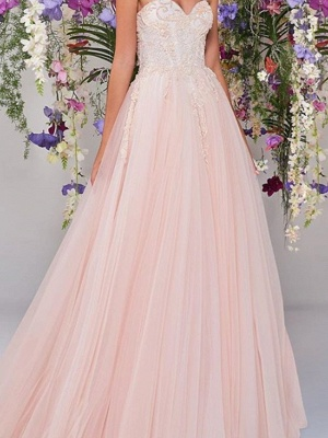 Country A-Line Wedding Dress Strapless Lace Tulle Sleeveless Bridal Gowns Wedding Dress in Color_2
