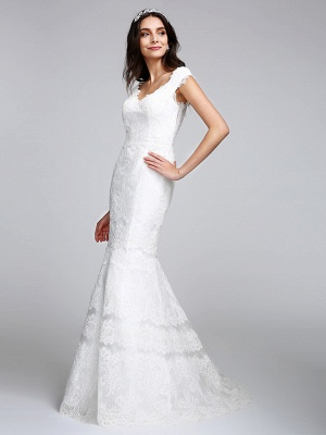 Romantic Mermaid Wedding Dress V-neck All Over Lace Cap Sleeve Sexy Backless Bridal Gowns Illusion Detail_6