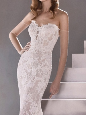 Sexy Mermaid Wedding Dresses Sweetheart Lace Sleeveless Bridal Gowns Plus Size Sweep Train_4