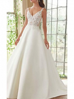 A-Line Wedding Dress V-Neck Lace Satin Spaghetti Strap Bridal Gowns Court Train