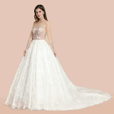 Luxury Ball Gown Tulle Lace Wedding Dress | Long Sleeves Appliques Pearls Bridal Gowns with Flowers_6