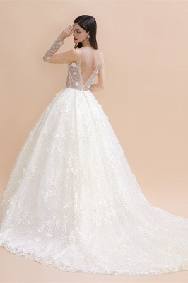Luxury Ball Gown Tulle Lace Wedding Dress | Long Sleeves Appliques Pearls Bridal Gowns with Flowers_2