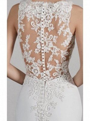 Formal Mermaid Wedding Dresses Bateau Charmeuse Straps Plus Size Bridal Gowns with Court Train_2
