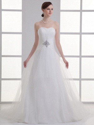Boho A-Line Wedding Dress Sweetheart Lace Satin Strapless Bridal Gowns with Chapel Train_1