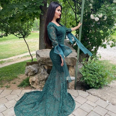 Green Lace Long Sleeve Evening Gowns Mermaid Prom Dress Online_3