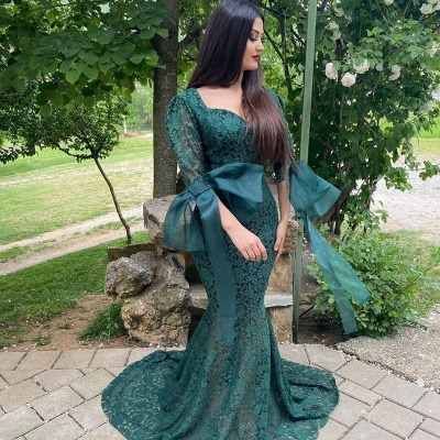 Green Lace Long Sleeve Evening Gowns Mermaid Prom Dress Online_2