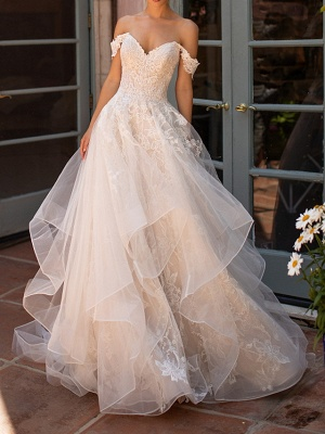 Off The Shoulder Tulle Appliques Ruffles Wedding Dresses Long_1