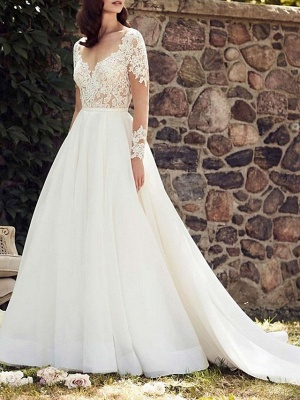 A-Line Wedding Dress V-Neck Lace Tulle Long Sleeve Bridal Gowns Court Train
