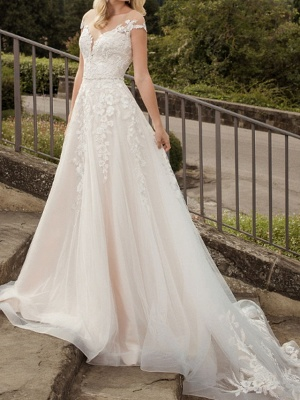 A-Line Wedding Dresses V-Neck Lace Tulle Short Sleeve Bridal Gowns Country Plus Size Court Train_1