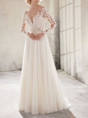 Country A-Line Wedding Dress Jewel Lace Tulle Long Sleeve Plus Size Bridal Gowns Sweep Train_1