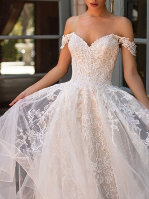 Off The Shoulder Tulle Appliques Ruffles Wedding Dresses Long_2