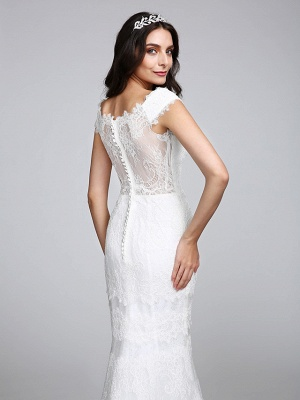 Romantic Mermaid Wedding Dress V-neck All Over Lace Cap Sleeve Sexy Backless Bridal Gowns Illusion Detail_8