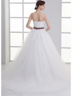 Sexy A-Line Wedding Dress Sweetheart Lace Satin Tulle Strapless Bridal Gowns with Court Train_4