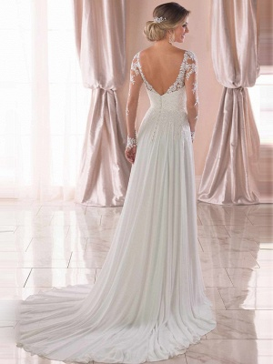Elegant A-Line Chiffon Wedding Dresses Romantic V-Neck Lace Long Sleeve Bridal Gowns with Chapel Train_4