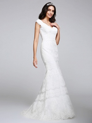 Romantic Mermaid Wedding Dress V-neck All Over Lace Cap Sleeve Sexy Backless Bridal Gowns Illusion Detail_5
