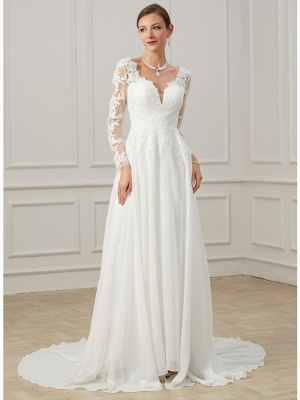 Formal Sheath Wedding Dress V-Neck Lace Tulle Long Sleeves Plus Size Bridal Gowns with Sweep Train_2