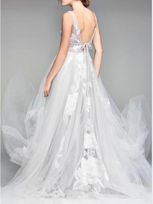 Casual Plus Size A-Line Wedding Dress V-Neck Tulle Sleeveless Bridal Gowns On Sale_2