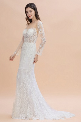 Gorgeous Jewel Tulle Lace Wedding Dress   Long Sleeves Appliques Mermaid Bridal Gowns_4