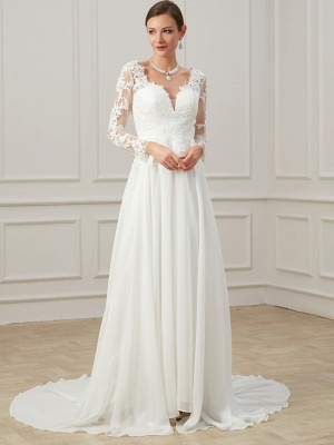 Formal Sheath Wedding Dress V-Neck Lace Tulle Long Sleeves Plus Size Bridal Gowns with Sweep Train_3