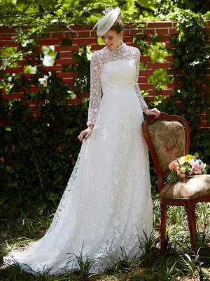 Illusion A-Line Wedding Dress Floral Lace Long Sleeve Bridal Gowns Court Train_8