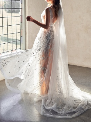 Sexy A-Line Wedding Dresses Sweetheart Lace Sleeveless Bridal Gowns Wedding Dress in Color See-Through Court Train_3