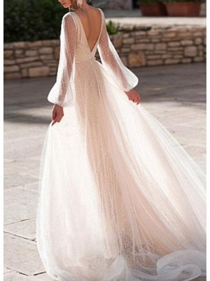 A-Line Wedding Dress V-Neck Tulle Long Sleeve Bridal Gowns Sweep Train_2