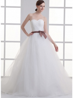 Sexy A-Line Wedding Dress Sweetheart Lace Satin Tulle Strapless Bridal Gowns with Court Train