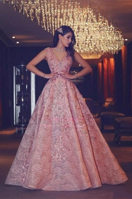 Luxury Evening Gown Flowers Puffy Pink V-Neck Beading Lace Evening Gowns_1