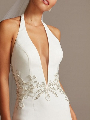 Country Plus Size Mermaid Wedding Dress Halter Neck Plunging Neck Sleeveless Bridal Gowns Sweep Train_4