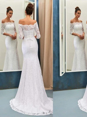 Mermaid Off-the-Shoulder Lace Wedding Dress Long Sleeves Sweep Train Bridal Gowns