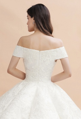 Luxury Ball Gown Off-the-Shoulder Sweetheart Wedding Dress | Sleeveless Lace Satin Bridal Gowns_11