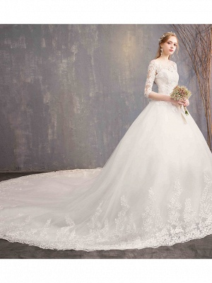 Ball Gown Wedding Dress Jewel Tulle Lace Half Sleeve Bridal Gowns Chapel Train_2