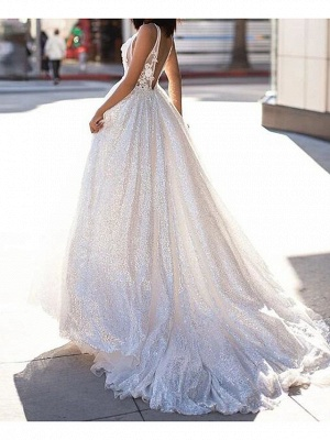Sexy A-Line Wedding Dresses Scoop Lace Tulle Sleeveless Bridal Gowns Beach See-Through Sweep Train_2