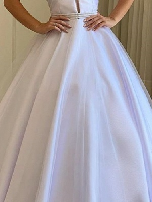 Country Plus Size A-Line Wedding Dress Off Shoulder Tulle Short Sleeve Bridal Gowns with Sweep Train_3