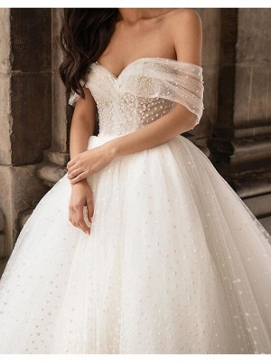 Country Plus Size Ball Gown Off Shoulder Wedding Dress Tulle Short Sleeve Bridal Gowns with Chapel Train_3