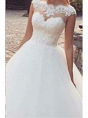 A-Line Wedding Dress Jewel Tulle Straps Bridal Gowns Sweep Train On Sale_2