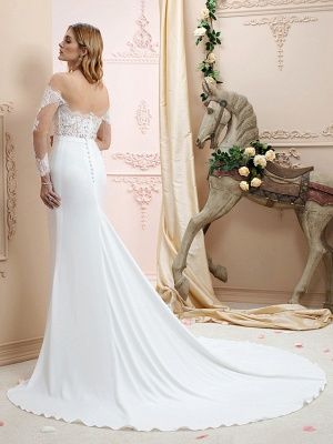 Country A line Chiffon Wedding Dress Long Sleeves Lace Appliques Bridal Gowns Online_2