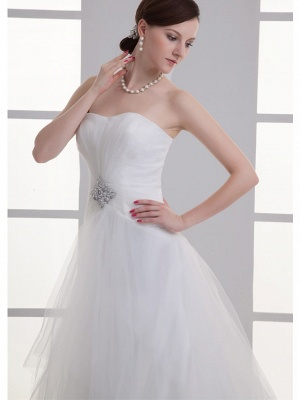 Boho A-Line Wedding Dress Sweetheart Lace Satin Strapless Bridal Gowns with Chapel Train_4