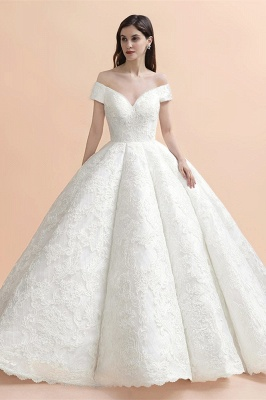 Luxury Ball Gown Lace Satin Sweetheart Wedding Dress | Sleeveless Bridal Gowns with V-Back_1
