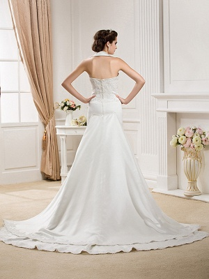 Affordable Mermaid Halter Wedding Dress Satin Sleeveless Bridal Gowns with Court Train_4