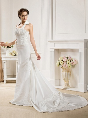 Affordable Mermaid Halter Wedding Dress Satin Sleeveless Bridal Gowns with Court Train_3