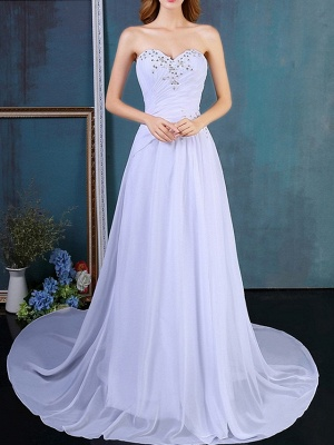 Formal A-Line Wedding Dress Strapless Tulle Strapless Plus Size Bridal Gowns Sweep Train_3