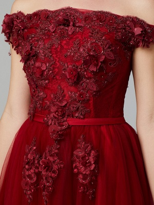 Glamorous Sleeveless Appliques Tulle A-Line Prom Dresses_16