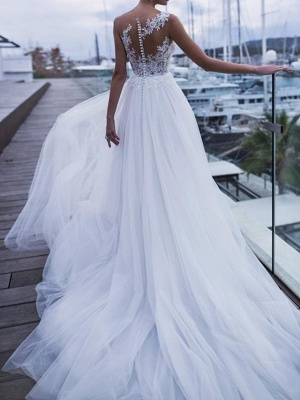 Country A-Line Wedding Dress Scoop Polyester Sleeveless Plus Size Bridal Gowns Sweep Train_2