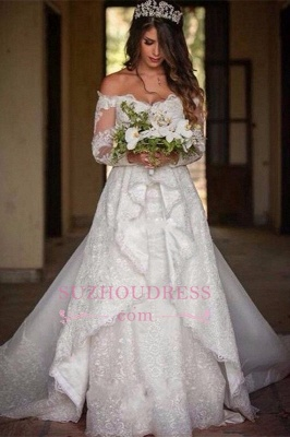 2020 Beautiful Lace Off-the-Shoulder Long-Sleeve Princess Wedding Dress_1